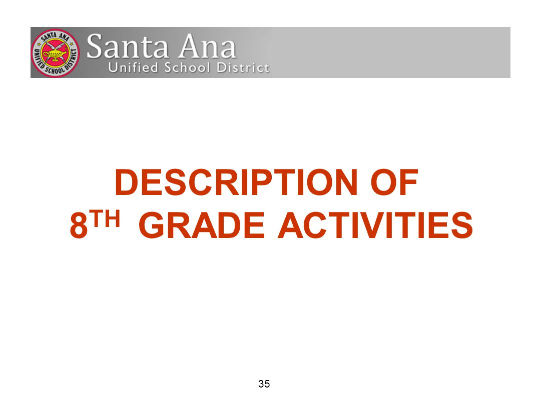 35 DESCRIPTION OF 8 TH GRADE ACTIVITIES