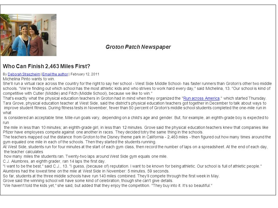 Groton Patch Newspaper Who Can Finish 2,463 Miles First? By Deborah Straszheim | Email the author | February 12, 2011Deborah StraszheimEmail the autho