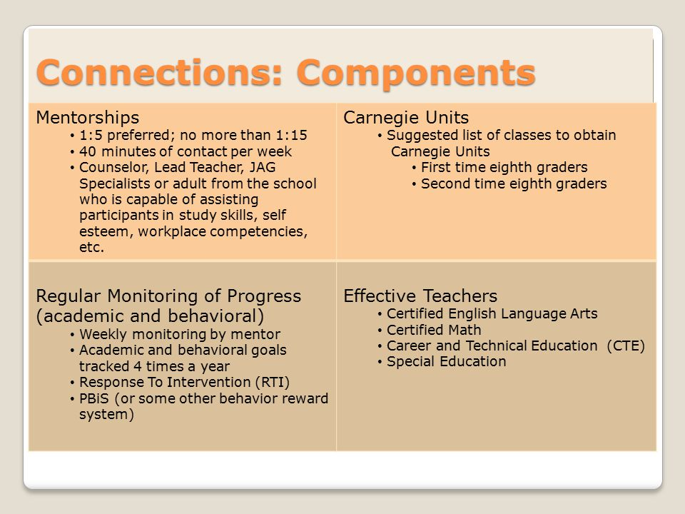 Connections: Components Mentorships 1:5 preferred; no more than 1:15 40 minutes of contact per week Counselor, Lead Teacher, JAG Specialists or adult from the school who is capable of assisting participants in study skills, self esteem, workplace competencies, etc.