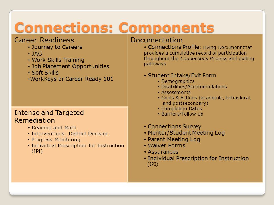 Connections: Components Career Readiness Journey to Careers JAG Work Skills Training Job Placement Opportunities Soft Skills WorkKeys or Career Ready 101 Documentation Connections Profile : Living Document that provides a cumulative record of participation throughout the Connections Process and exiting pathways Student Intake/Exit Form Demographics Disabilities/Accommodations Assessments Goals & Actions (academic, behavioral, and postsecondary) Completion Dates Barriers/Follow-up Connections Survey Mentor/Student Meeting Log Parent Meeting Log Waiver Forms Assurances Individual Prescription for Instruction (IPI) Intense and Targeted Remediation Reading and Math Interventions: District Decision Progress Monitoring Individual Prescription for Instruction (IPI)