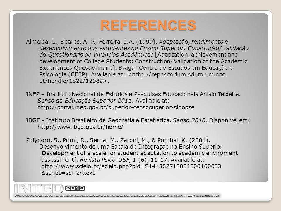 Almeida, L., Soares, A. P., Ferreira, J.A. (1999).