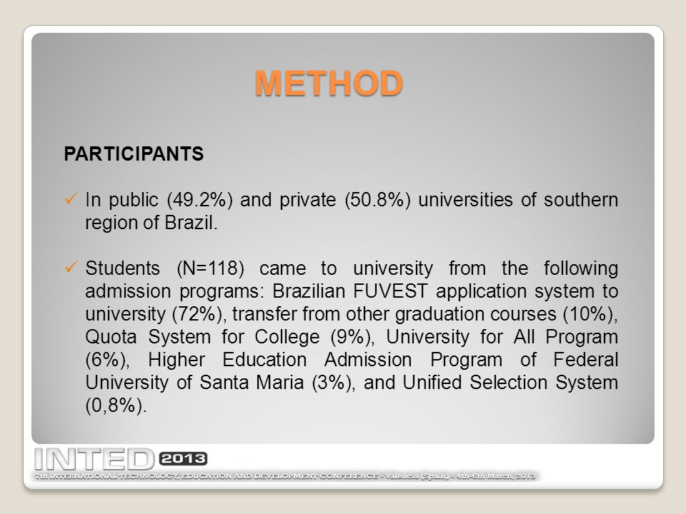 METHOD PARTICIPANTS In public (49.2%) and private (50.8%) universities of southern region of Brazil.