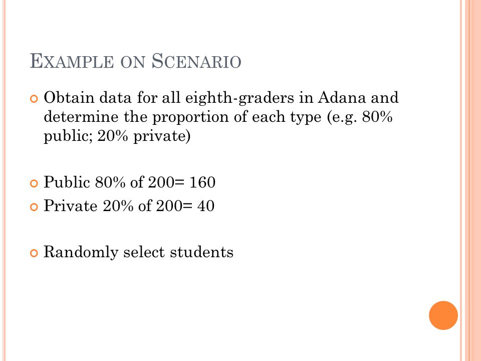 E XAMPLE ON S CENARIO Obtain data for all eighth-graders in Adana and determine the proportion of each type (e.g. 80% public; 20% private) Public 80%