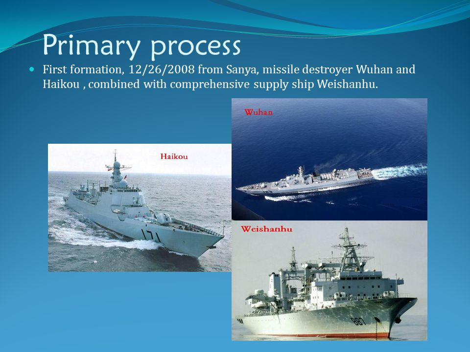 Primary process First formation, 12/26/2008 from Sanya, missile destroyer Wuhan and Haikou, combined with comprehensive supply ship Weishanhu.