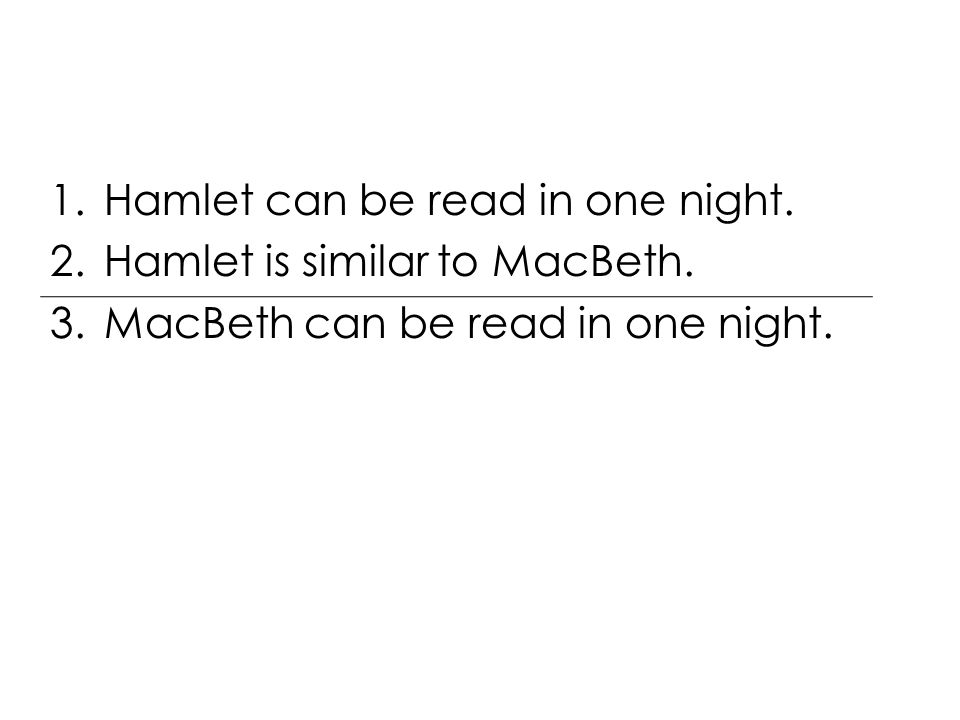 1.Hamlet can be read in one night. 2.Hamlet is similar to MacBeth.