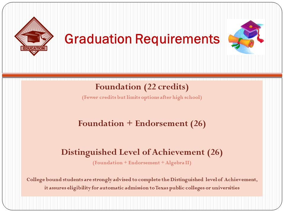 Graduation Requirements Foundation (22 credits) (Fewer credits but limits options after high school) Foundation + Endorsement (26) Distinguished Level of Achievement (26) (Foundation + Endorsement + Algebra II) College bound students are strongly advised to complete the Distinguished level of Achievement, it assures eligibility for automatic admission to Texas public colleges or universities