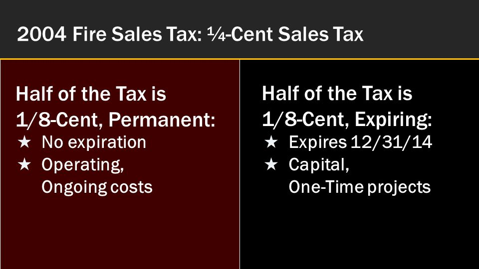 November 2014 Fire Sales Tax Renewal Vote Fire Tax '04: PERMANENT 1/8-cent for Operating Promised & Delivered Public Safety Salaries Three More Firefighters 911 Communications