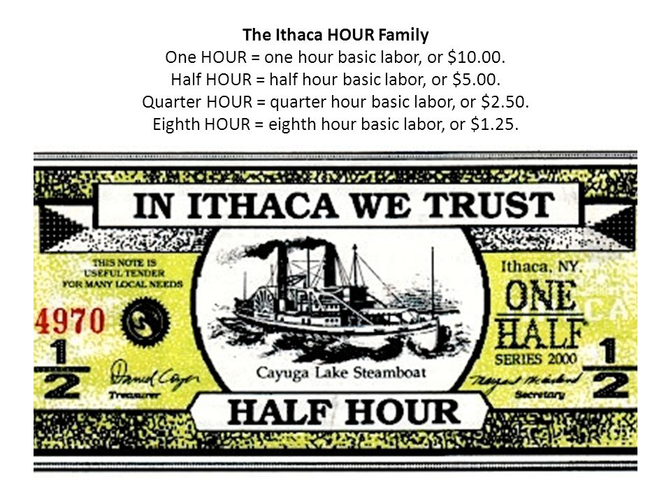 The Ithaca HOUR Family One HOUR = one hour basic labor, or $10.00.