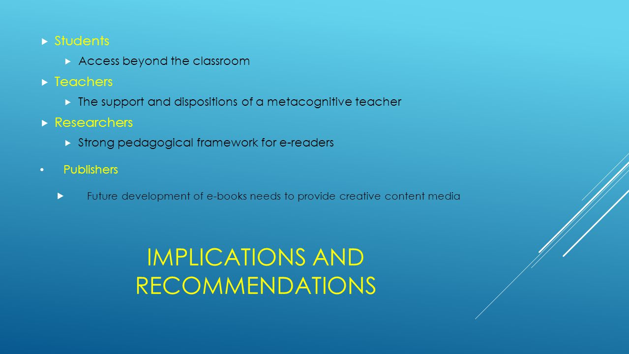 IMPLICATIONS AND RECOMMENDATIONS  Students  Access beyond the classroom  Teachers  The support and dispositions of a metacognitive teacher  Resea