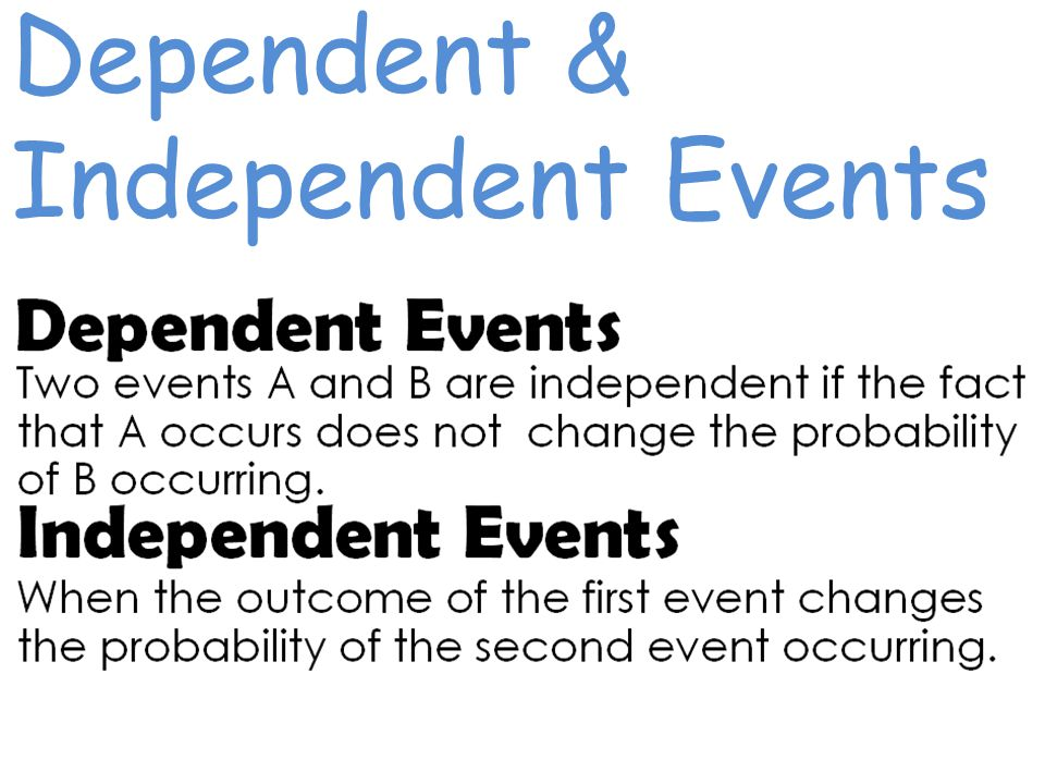 Dependent & Independent Events