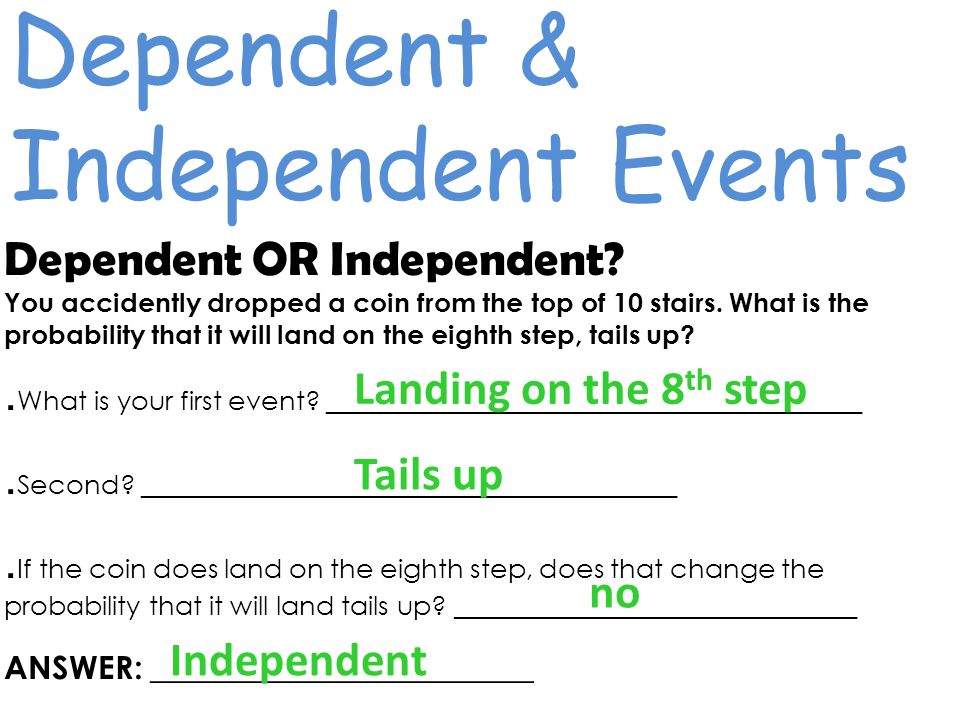 Dependent & Independent Events Dependent OR Independent.