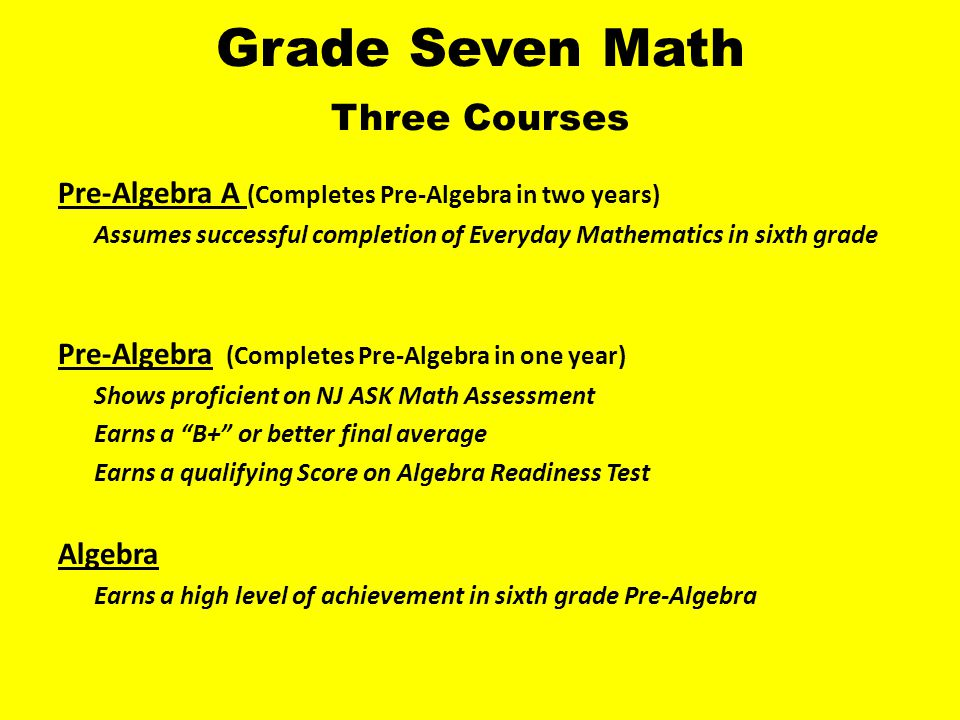 Grade Eight Math Three Courses Pre-Algebra B (Completes the second year of two year class) Assumes Successful completion of Pre-Algebra A Algebra Successful completion of the single year Pre-Algebra course Teacher recommendation Geometry High level of achievement in seventh grade Algebra Teacher recommendation