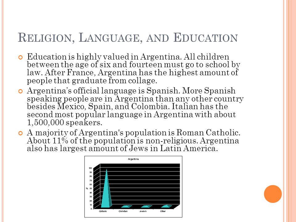R ELIGION, L ANGUAGE, AND E DUCATION Education is highly valued in Argentina.