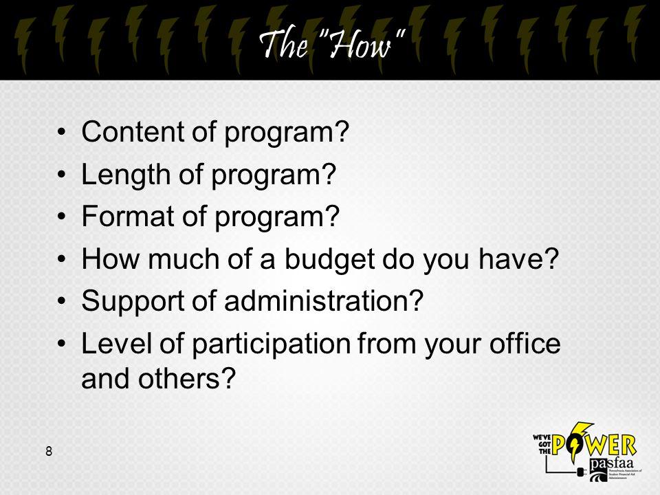 The How Content of program. Length of program. Format of program.