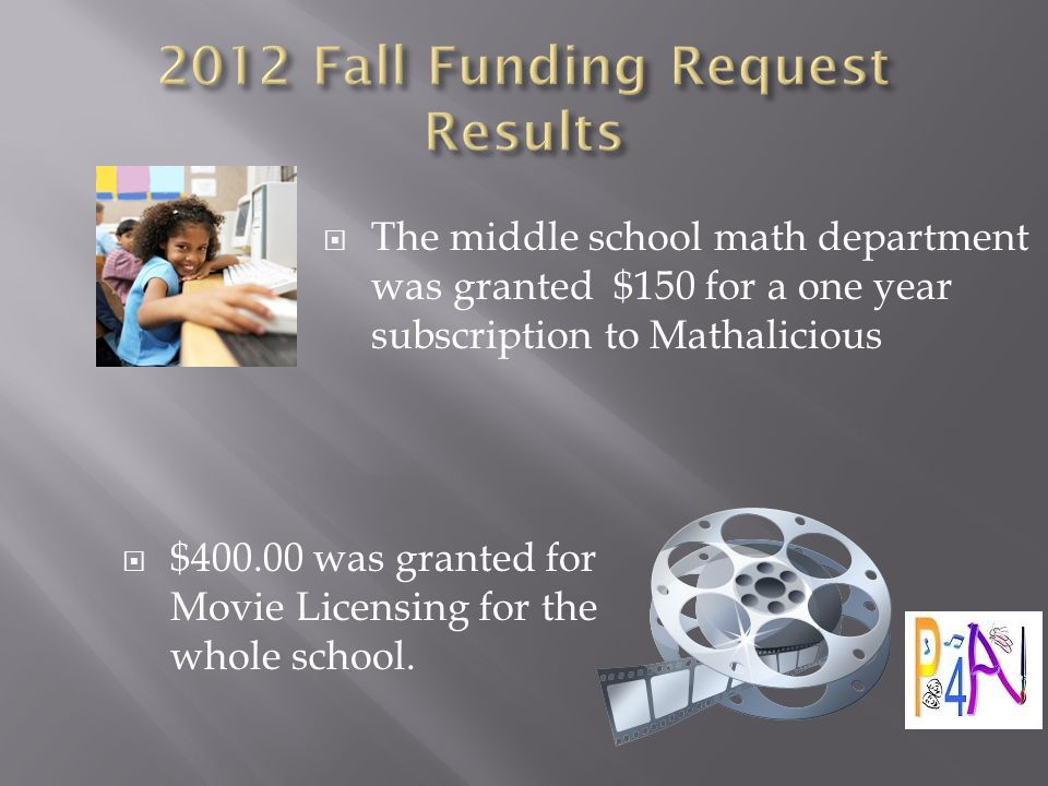  The middle school math department was granted $150 for a one year subscription to Mathalicious  $400.00 was granted for Movie Licensing for the whole school.