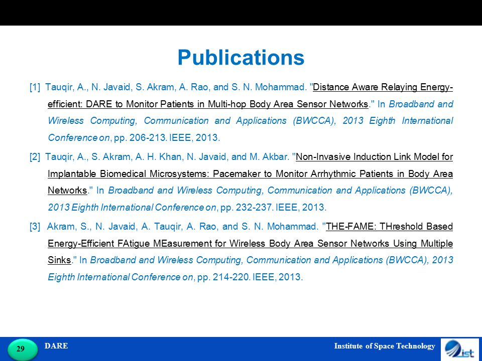 DARE Institute of Space Technology 29 Publications [1] Tauqir, A., N.