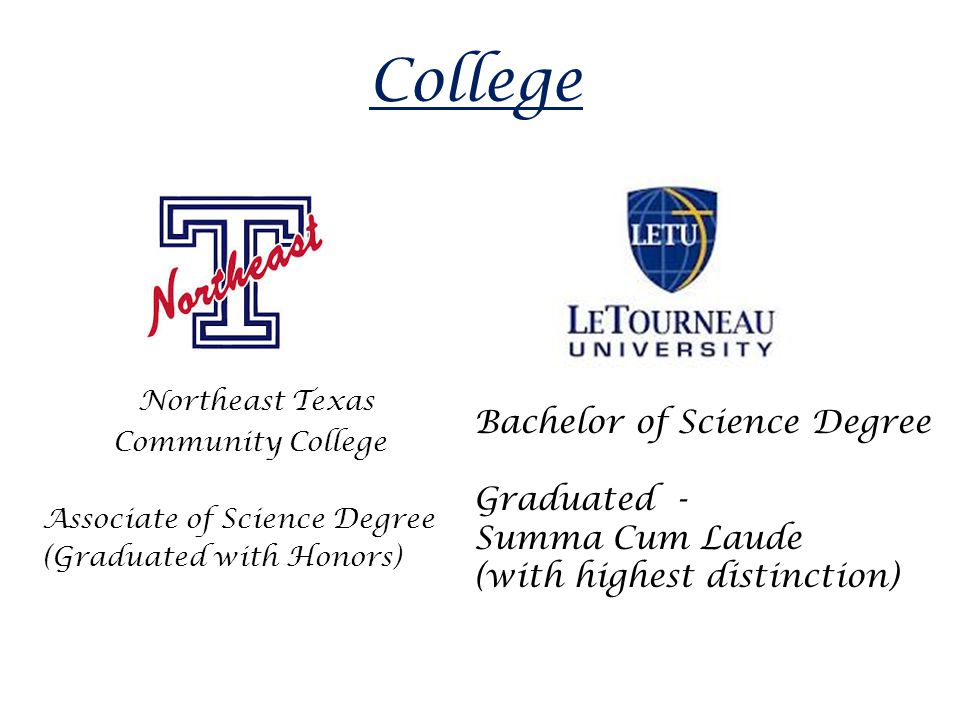 College Northeast Texas Community College Associate of Science Degree (Graduated with Honors) Bachelor of Science Degree Graduated - Summa Cum Laude (with highest distinction)