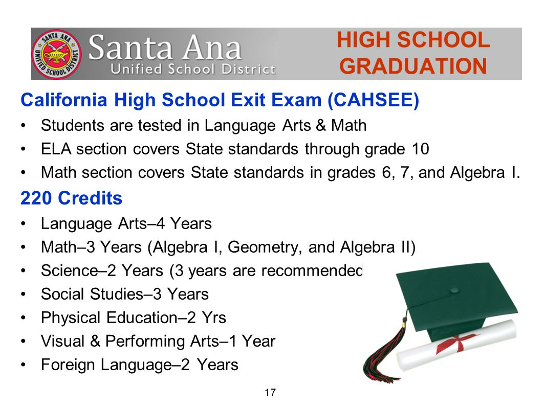 17 HIGH SCHOOL GRADUATION California High School Exit Exam (CAHSEE) Students are tested in Language Arts & Math ELA section covers State standards through grade 10 Math section covers State standards in grades 6, 7, and Algebra I.