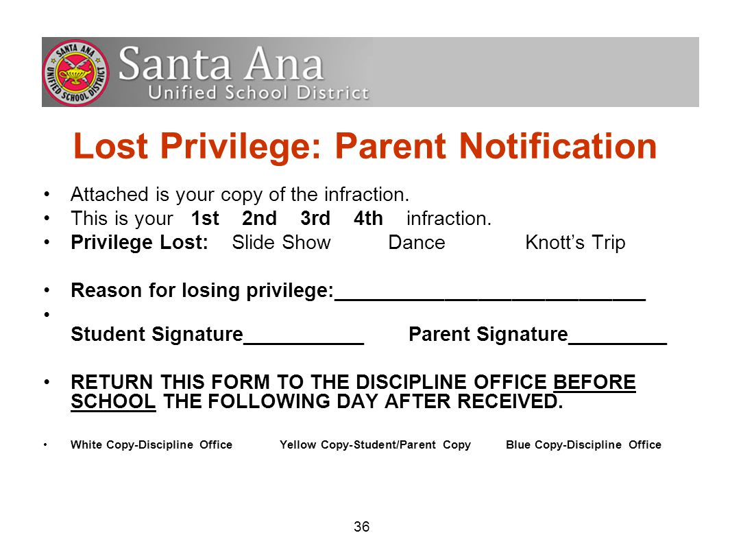 36 Lost Privilege: Parent Notification Attached is your copy of the infraction.