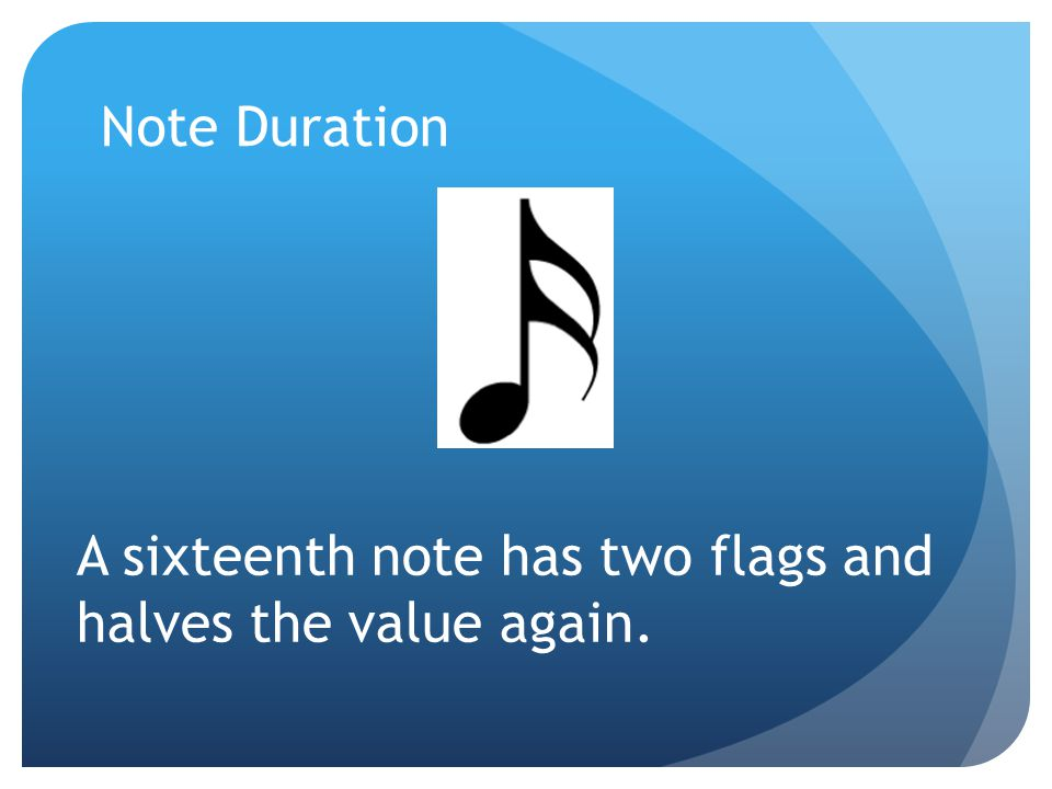 Note Duration A sixteenth note has two flags and halves the value again.