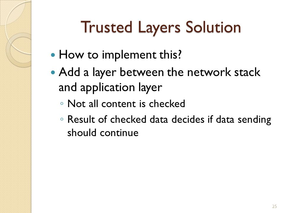 Trusted Layers Solution How to implement this? Add a layer between the network stack and application layer ◦ Not all content is checked ◦ Result of ch