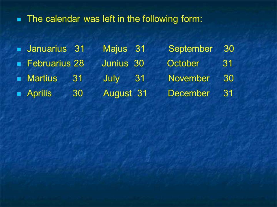 The calendar was left in the following form: Januarius 31 Majus 31 September 30 Februarius 28 Junius 30 October 31 Martius 31 July 31 November 30 Aprilis 30 August 31 December 31 The calendar was left in the following form: Januarius 31 Majus 31 September 30 Februarius 28 Junius 30 October 31 Martius 31 July 31 November 30 Aprilis 30 August 31 December 31