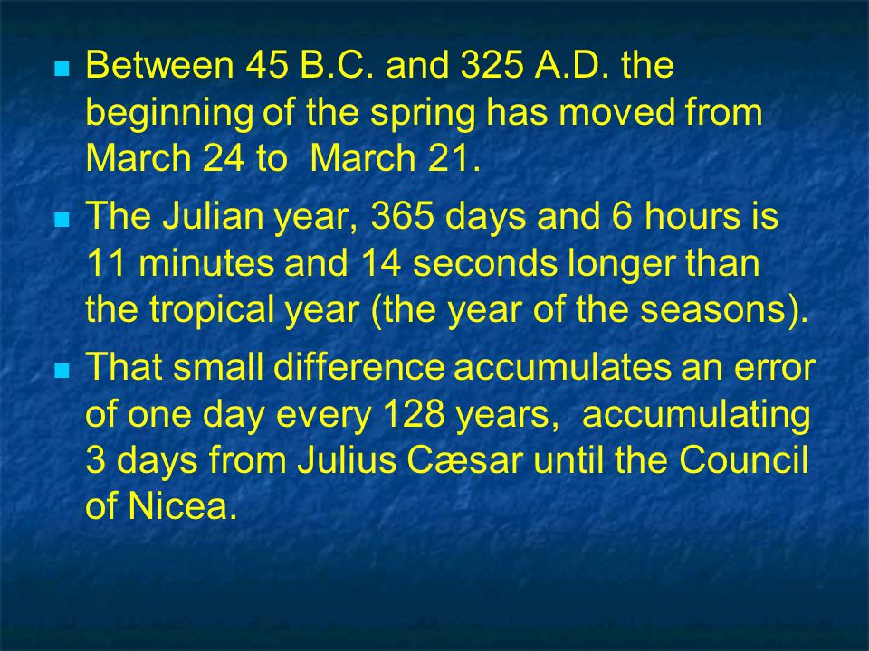Between 45 B.C. and 325 A.D. the beginning of the spring has moved from March 24 to March 21.
