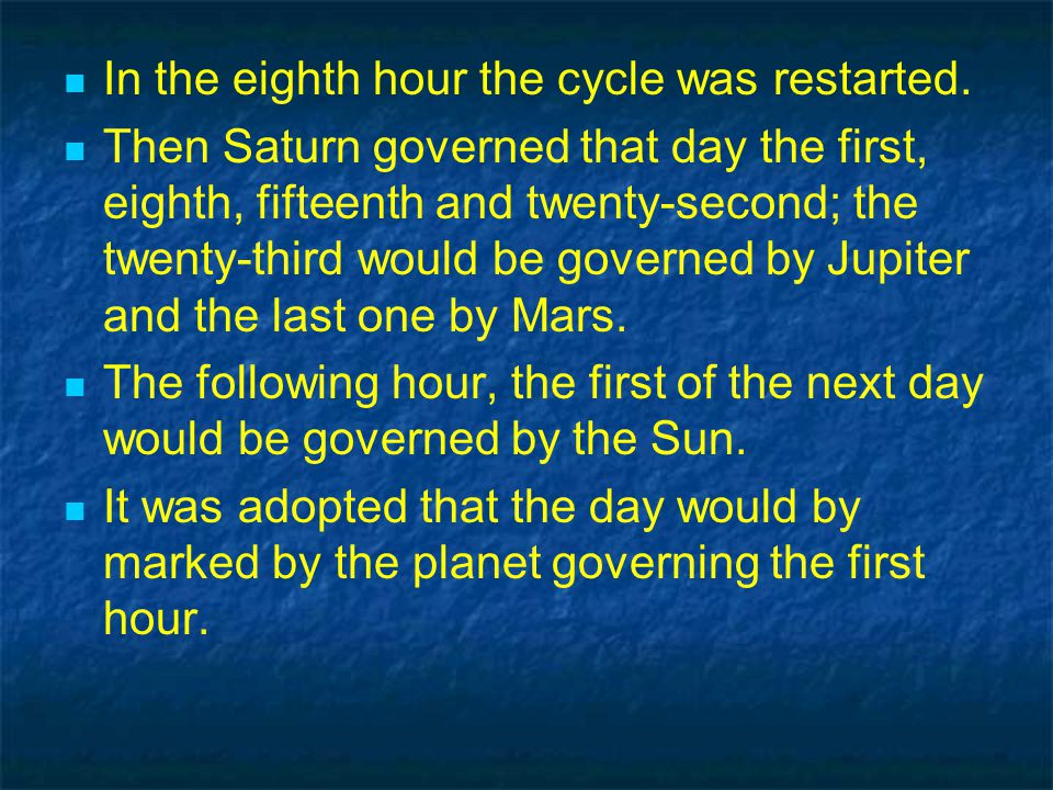 In the eighth hour the cycle was restarted.