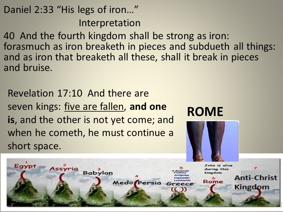 "ROME Daniel 2:33 ""His legs of iron…"" Interpretation 40 And the fourth kingdom shall be strong as iron: forasmuch as iron breaketh in pieces and subdue"
