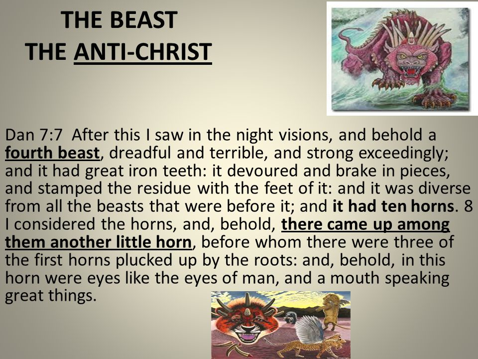 THE BEAST THE ANTI-CHRIST Dan 7:7 After this I saw in the night visions, and behold a fourth beast, dreadful and terrible, and strong exceedingly; and