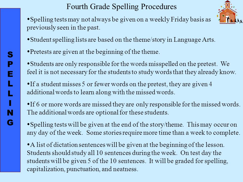 SPELLINGSPELLING Fourth Grade Spelling Procedures  Spelling tests may not always be given on a weekly Friday basis as previously seen in the past.