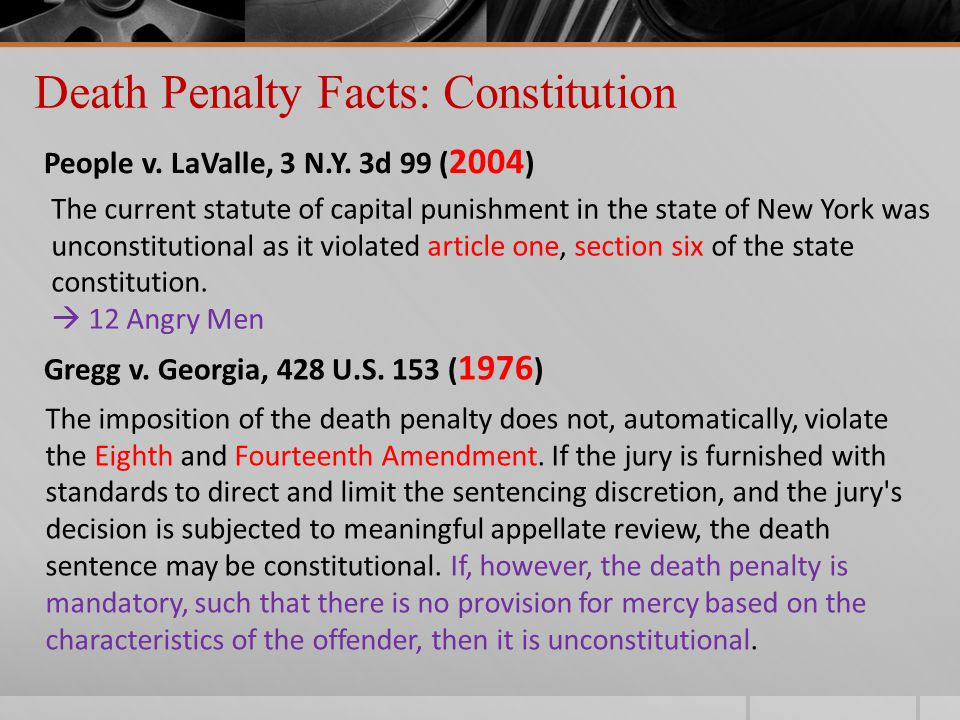 Death Penalty Facts: Constitution People v. LaValle, 3 N.Y.