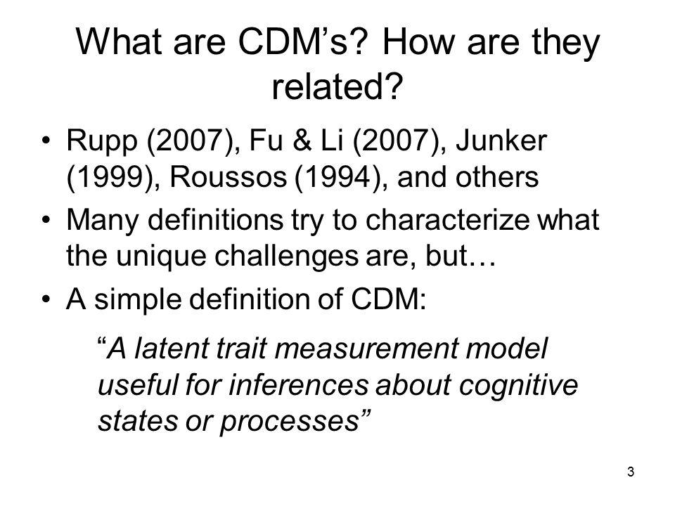 14 Many general frameworks, model choices and design choices Conceptual: Fu & Li (2007); Rupp (2007) Extensions: HO-DINA, MS-DINA and others (de la Torre & Douglas, 2004, 2005); Fusion model system (Roussos et al., in press); Bayes Nets (Mislevy et al., 1999) Model Families: Henson et al.