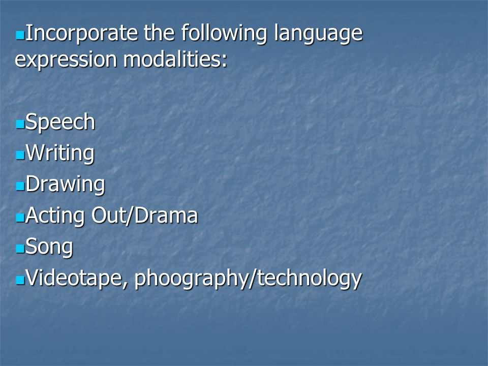 Incorporate the following language expression modalities: Incorporate the following language expression modalities: Speech Speech Writing Writing Draw