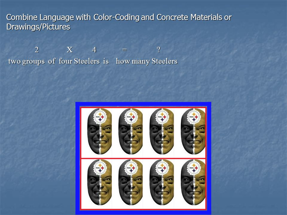 Combine Language with Color-Coding and Concrete Materials or Drawings/Pictures 2 X 4 = .