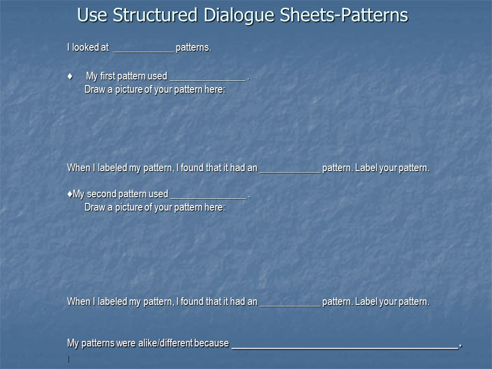 Use Structured Dialogue Sheets-Patterns I looked at ____________ patterns. ♦ My first pattern used _______________. Draw a picture of your pattern her