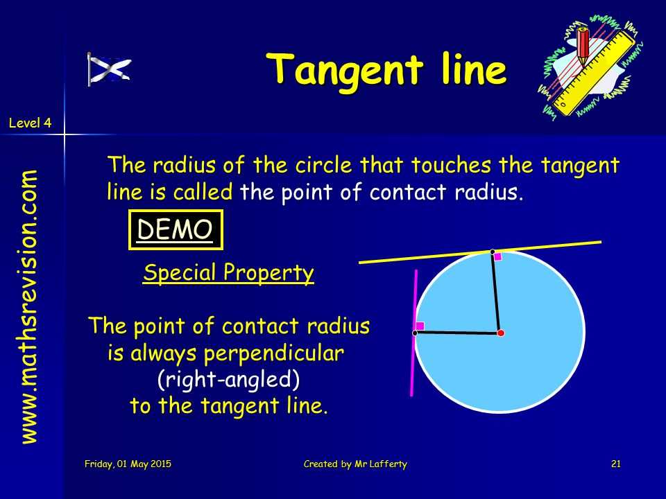 Level 4 Friday, 01 May 2015Friday, 01 May 2015Friday, 01 May 2015Friday, 01 May 2015Created by Mr Lafferty21 Tangent line The radius of the circle that touches the tangent line is called the point of contact radius.