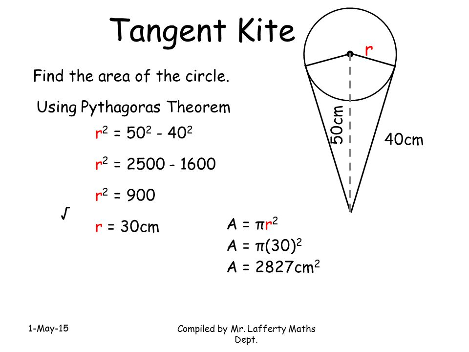 1-May-15 Compiled by Mr. Lafferty Maths Dept. Tangent Kite Find the area of the circle. 40cm 50cm Using Pythagoras Theorem r r 2 = 50 2 - 40 2 r 2 = 2