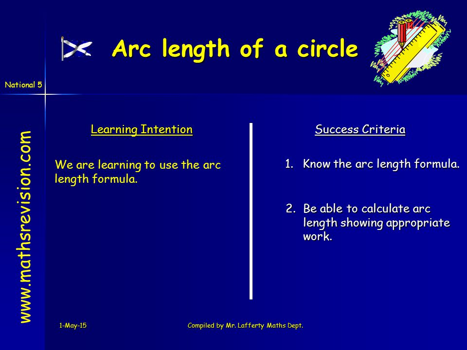 National 5 Arc length of a circle 1-May-15Compiled by Mr.