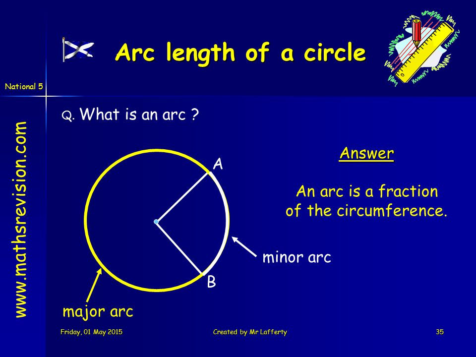 National 5 Friday, 01 May 2015Friday, 01 May 2015Friday, 01 May 2015Friday, 01 May 2015Created by Mr Lafferty35 Q. What is an arc ? A B Answer An arc