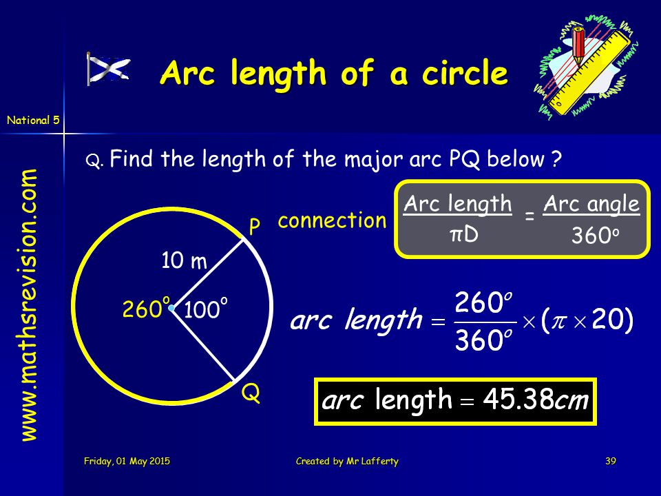 National 5 Friday, 01 May 2015Friday, 01 May 2015Friday, 01 May 2015Friday, 01 May 2015Created by Mr Lafferty39 www.mathsrevision.com Arc length of a circle Arc length πDπD Arc angle 360 o = Q.