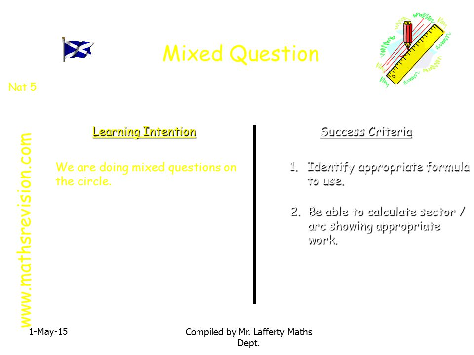 Mixed Question 1-May-15 Compiled by Mr.Lafferty Maths Dept.