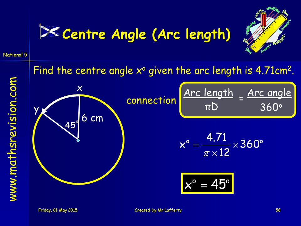 National 5 Friday, 01 May 2015Friday, 01 May 2015Friday, 01 May 2015Friday, 01 May 2015Created by Mr Lafferty58 www.mathsrevision.com Arc length πD Arc angle 360 o = Find the centre angle x o given the arc length is 4.71cm 2.