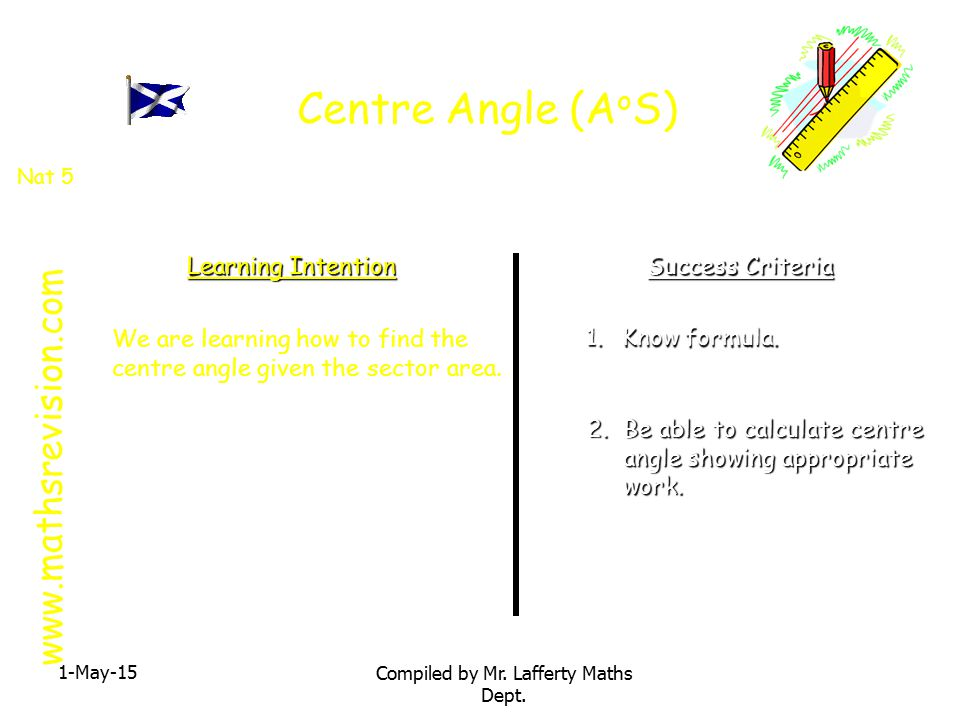 Centre Angle (A o S) 1-May-15 Compiled by Mr.Lafferty Maths Dept.