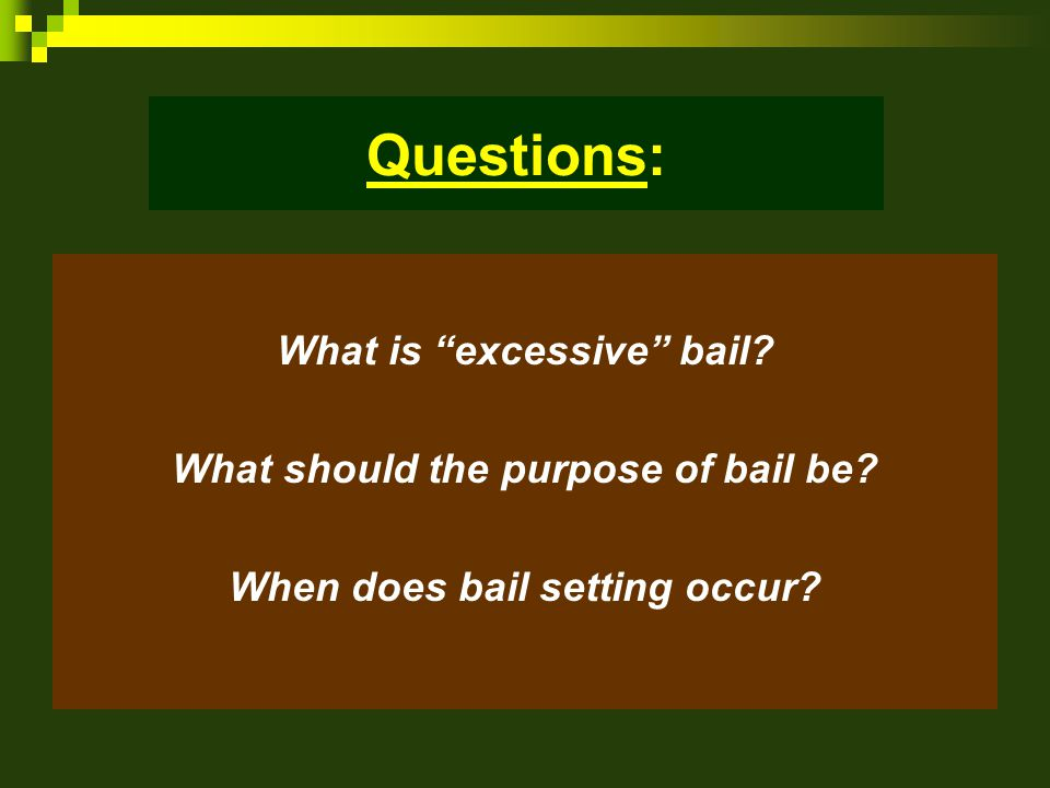 Questions: What is excessive bail. What should the purpose of bail be.