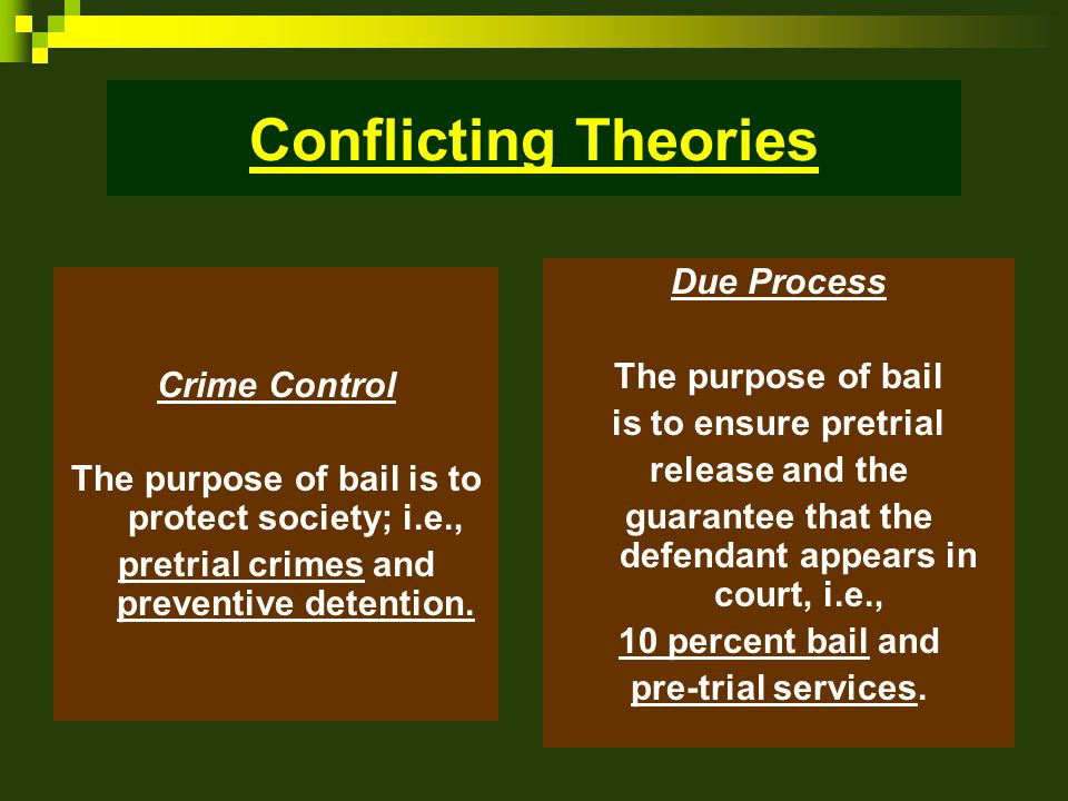 Conflicting Theories Crime Control The purpose of bail is to protect society; i.e., pretrial crimes and preventive detention.