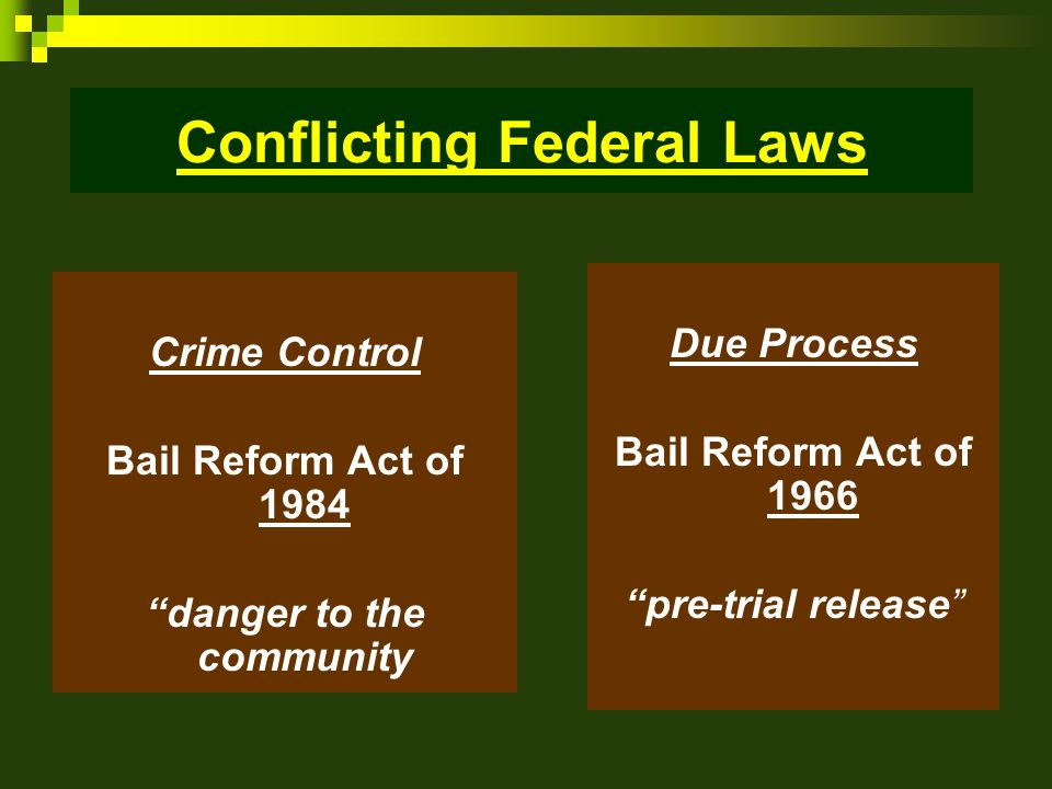 Bail Reform Act of 1984 Federal defendants – accused of serious crimes.