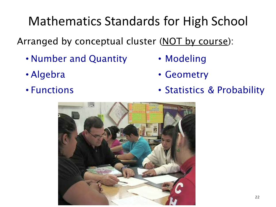 Mathematics Standards for High School 22 Arranged by conceptual cluster (NOT by course): Number and Quantity Algebra Functions Modeling Geometry Statistics & Probability
