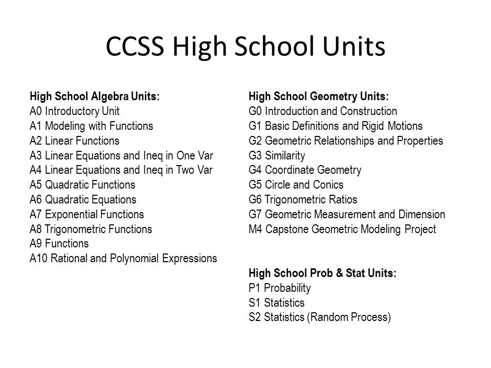 CCSS High School Units High School Algebra Units: A0 Introductory Unit A1 Modeling with Functions A2 Linear Functions A3 Linear Equations and Ineq in One Var A4 Linear Equations and Ineq in Two Var A5 Quadratic Functions A6 Quadratic Equations A7 Exponential Functions A8 Trigonometric Functions A9 Functions A10 Rational and Polynomial Expressions High School Geometry Units: G0 Introduction and Construction G1 Basic Definitions and Rigid Motions G2 Geometric Relationships and Properties G3 Similarity G4 Coordinate Geometry G5 Circle and Conics G6 Trigonometric Ratios G7 Geometric Measurement and Dimension M4 Capstone Geometric Modeling Project High School Prob & Stat Units: P1 Probability S1 Statistics S2 Statistics (Random Process)