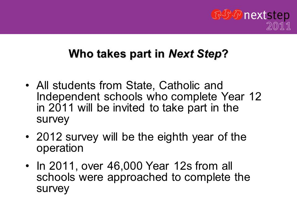 Who takes part in Next Step.